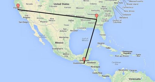 Map of Route to Guatemala