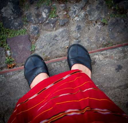 My New Handwoven, Bright Red Skirt and Cobblestone Streets, Antigua, Guatemala