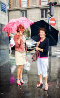 Rain, umbrellas, Paris